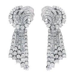 12.12 Carat Diamond Platinum Pendant Ear Clips with Detachable Bottoms