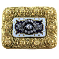 Victorian Diamond Enamel Gold Floral Brooch