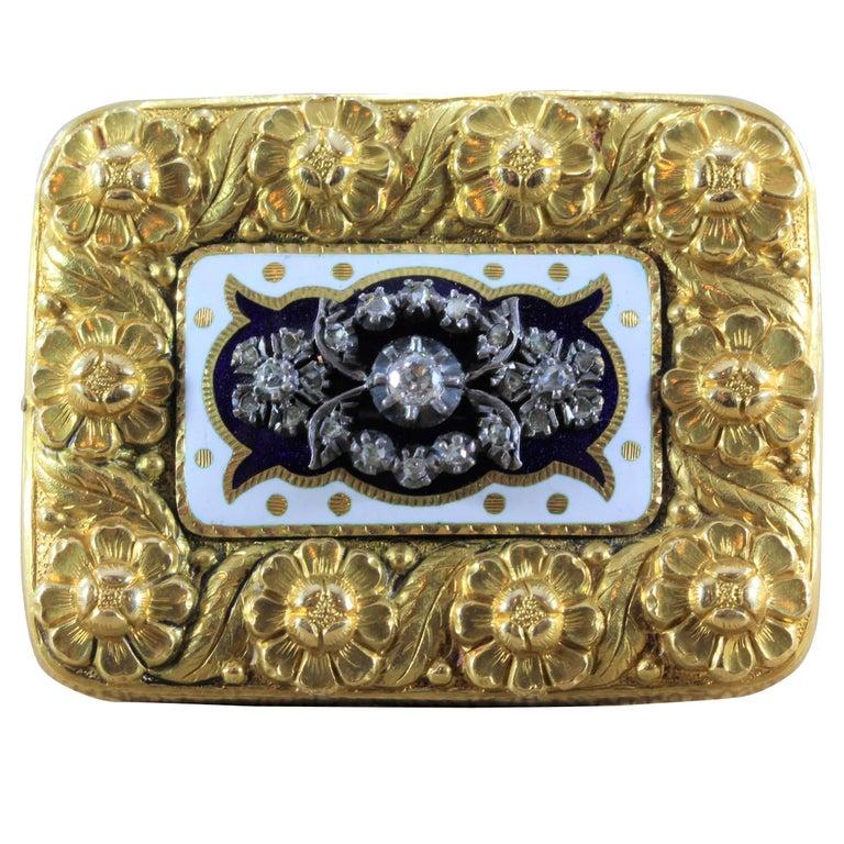 Victorian Diamond Enamel Gold Floral Brooch