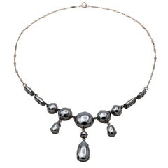 1930s Hematite and Sterling Silver Antique German Necklace