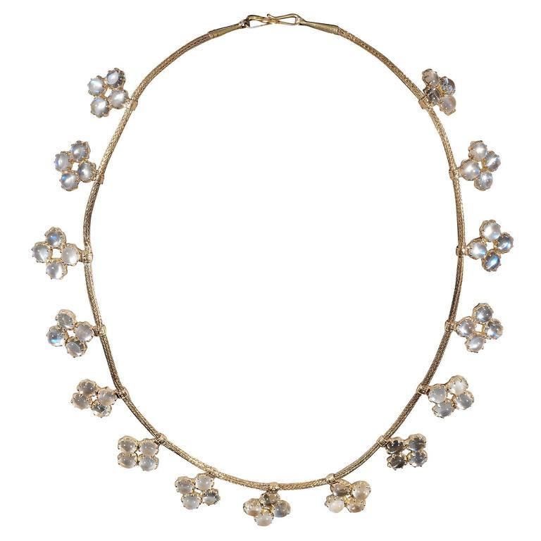 1900s Moonstone Quatrefoil Fringe Necklace