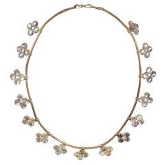 1900s Moonstone Quatrefoil Fringe Necklace