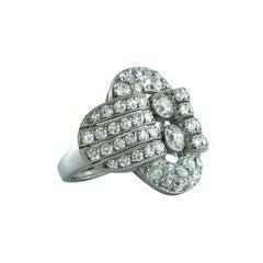 1940s English Retro Diamond Platinum Ring