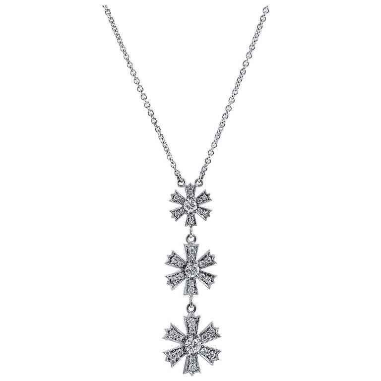 H & H Diamond White Gold Linear Flower Drop Necklace