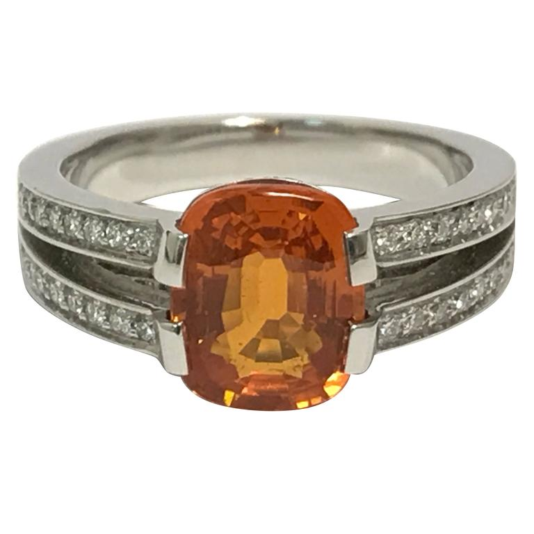Orange Sapphire Diamonds and White Gold Ring For Sale