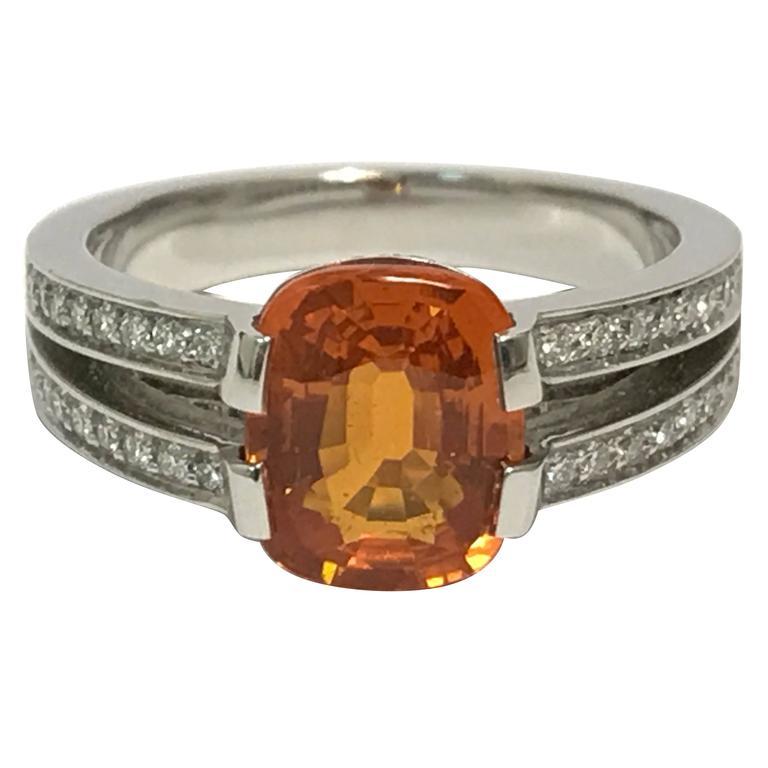 Orange Sapphire Diamonds and White Gold Ring 1