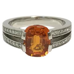 Orange Sapphire Diamonds and White Gold Ring