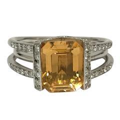 Emerald Shaped Citrine Diamonds White Gold Ring