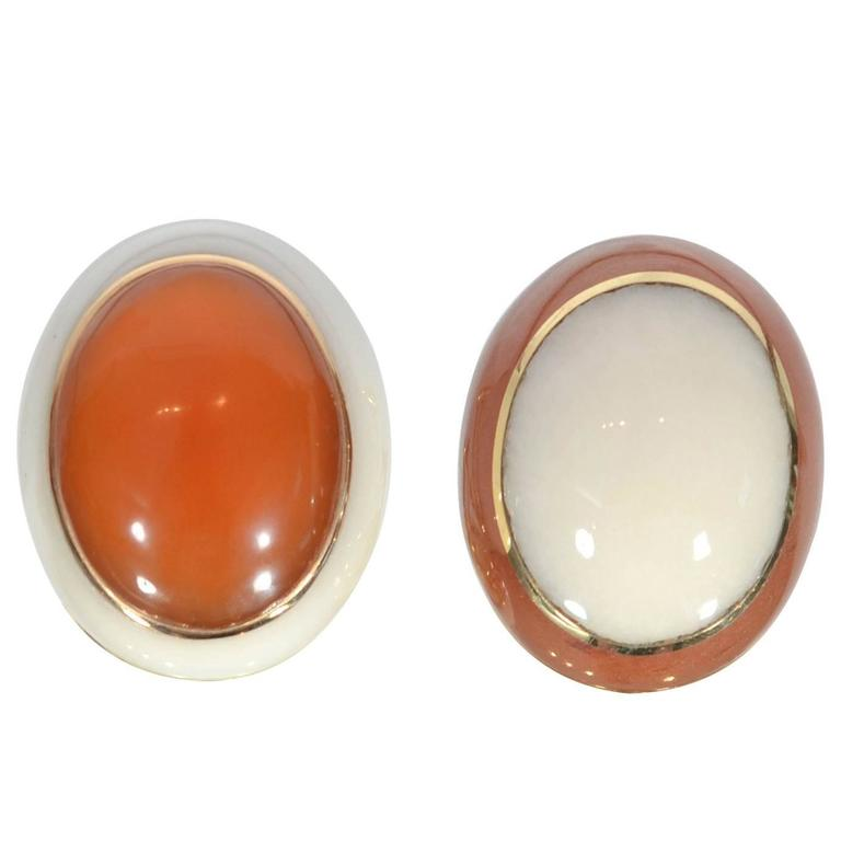 Tiffany & Co. Carnelian and White Coral Ear Clips