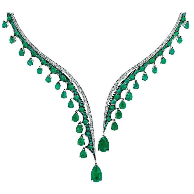Vanleles Diamond Gemfield Emerald Legends of Africa Necklace 1