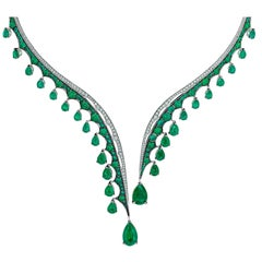 White Gold, White Diamonds and Gemfield Emeralds Necklace
