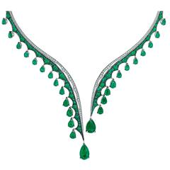 Vanleles Diamond Gemfield Emerald Legends of Africa Necklace