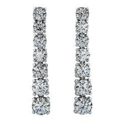 Elegant 5.91 Carats Diamond Platinum Dangle Earrings