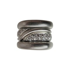 Marlene Stowe Set of Three White Gold and Diamond Stacking Band Rings