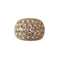 Yellow Gold and Diamond Prong Set Dome Ring