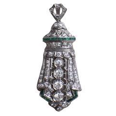 Platinum Diamond Emerald Shield Pendant