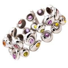 Modern contemporary Multi-Color Sapphire and White Gold Bracelet