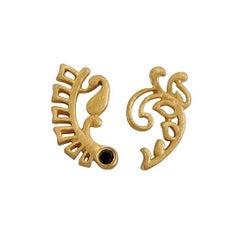Luca Jouel Black Diamond Yellow Gold Mismatched Fern Earrings