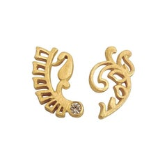Luca Jouel Diamond Yellow Gold Mismatched Fern Earrings