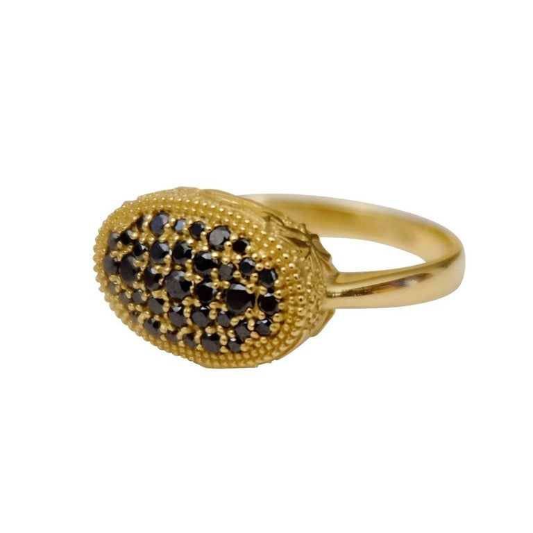 Luca Jouel Ornate Floral Black Diamond Yellow Gold Cocktail Ring For Sale