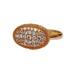 Luca Jouel Ornate Floral Rose Gold White Diamond Cocktail Ring