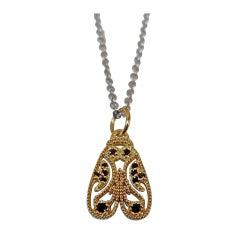 Luca Jouel Black Diamond Yellow Gold Palladium Moth Necklace
