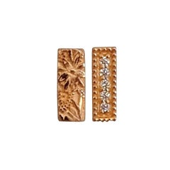 Luca Jouel Rose Gold White Diamond Mismatching Floral Bar Earrings