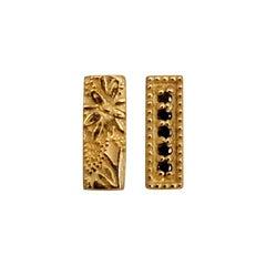 Luca Jouel Yellow Gold Black Diamond Mismatching Floral Bar Earrings