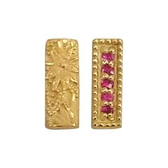 Ruby Yellow Gold Mismatching Floral Bar Earrings