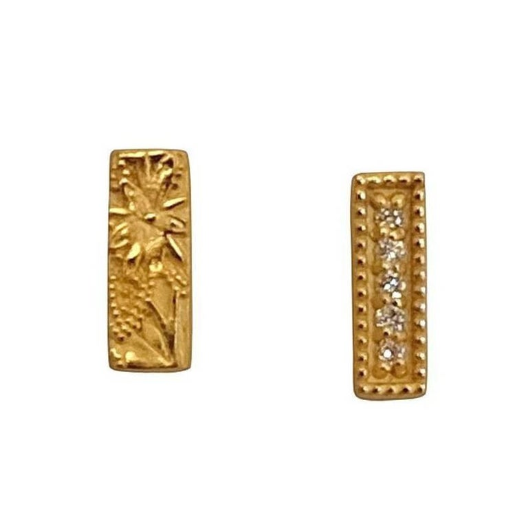 Luca Jouel Yellow Gold Diamond Mismatching Floral Bar Earrings For Sale