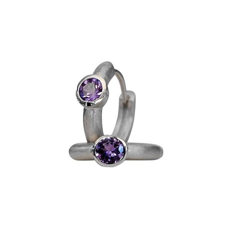 Luca Jouel Cercle Tanzanite Silver Petite Hoop Earrings