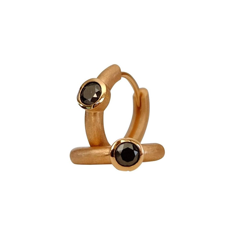 Luca Jouel Rosy Ebon Cercle Black Diamond Rose Gold Petite Hoop Earrings