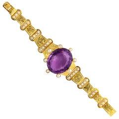 18 kt Victorian Amethyst Pearl Gold Bracelet
