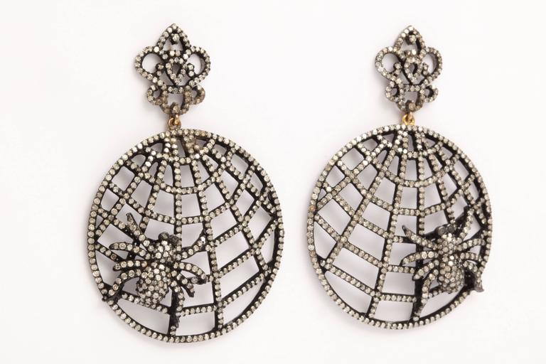 Diamond Spider Web Earrings For Sale 1