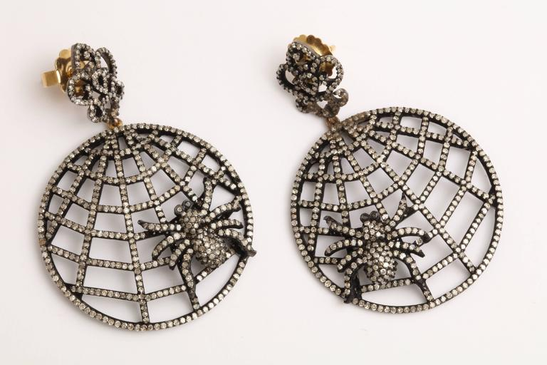 Diamond Spider Web Earrings In Excellent Condition For Sale In Fifth Avenue, NY