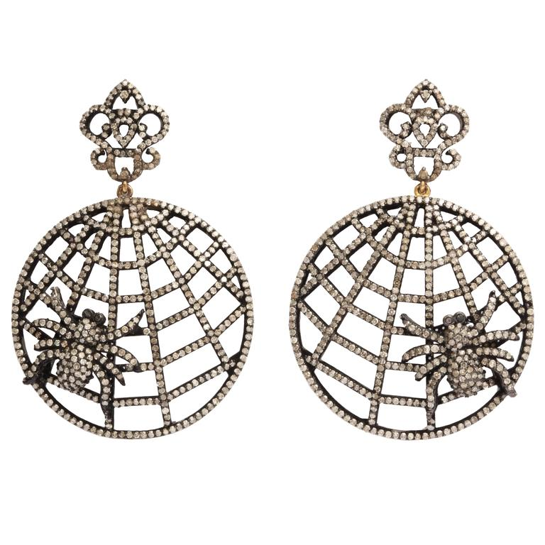 Diamond Spider Web Earrings For Sale
