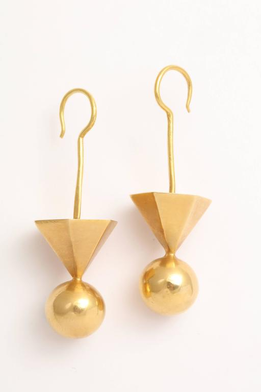 Contemporary Gold Tribal Geometric Earrings For Sale
