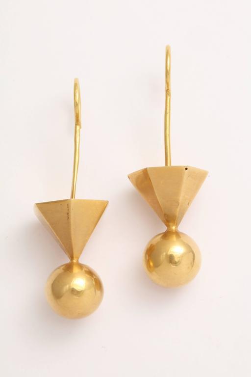 Gold Tribal Geometric Earrings For Sale 1