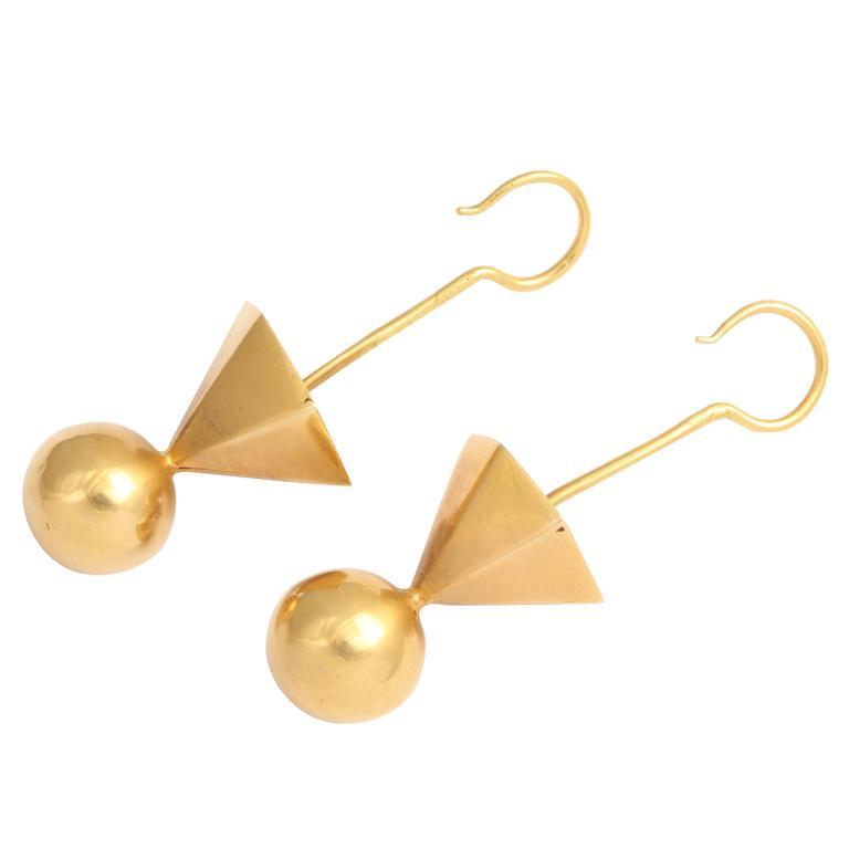 Gold Tribal Geometric Earrings For Sale