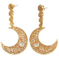 Diamond Gold Moon Earrings