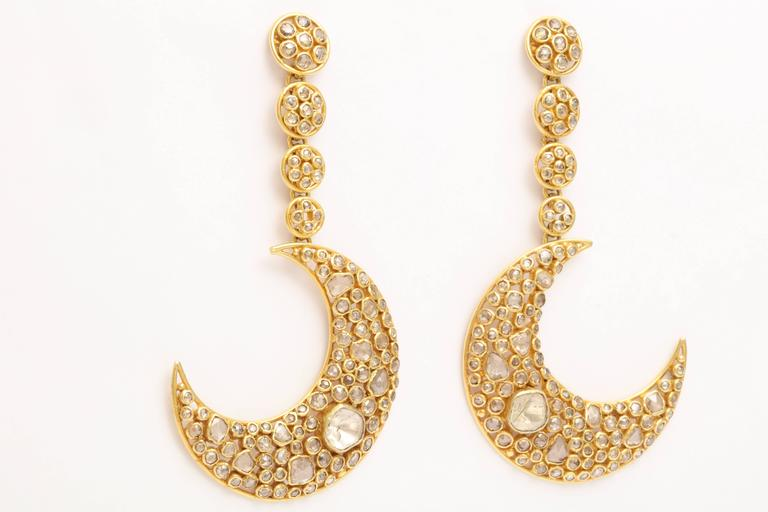 Anglo-Indian Diamond Gold Moon Earrings For Sale