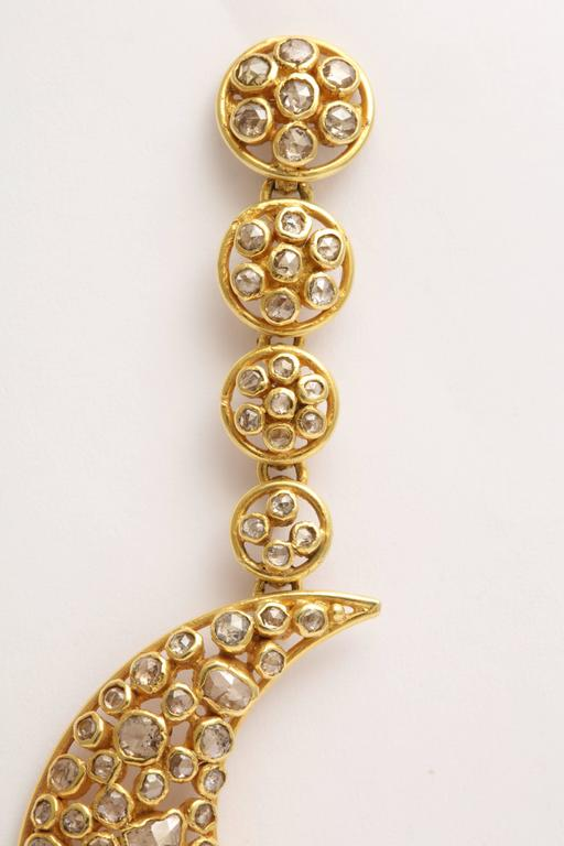 Diamond Gold Moon Earrings In Good Condition For Sale In Fifth Avenue, NY