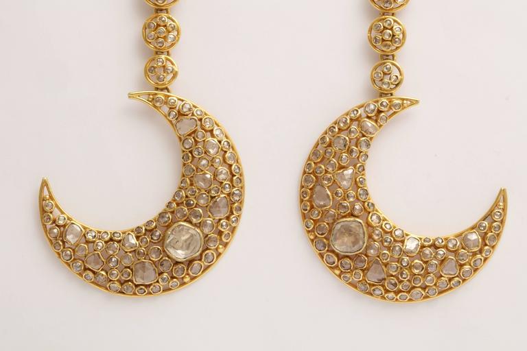Women's Diamond Gold Moon Earrings For Sale