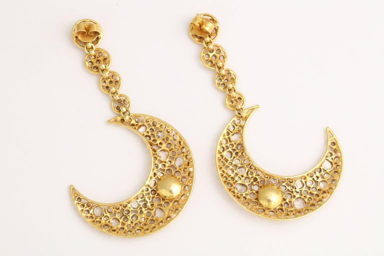 Diamond Gold Moon Earrings For Sale 1