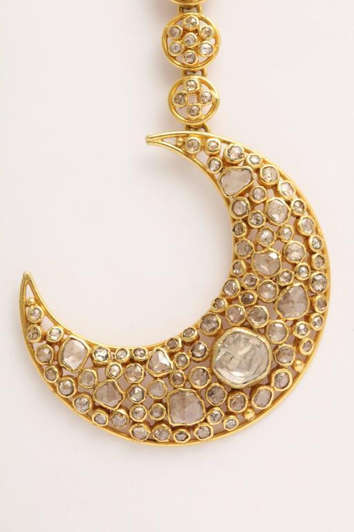 Diamond Gold Moon Earrings For Sale 2