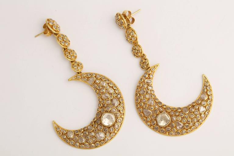Diamond Gold Moon Earrings For Sale 3