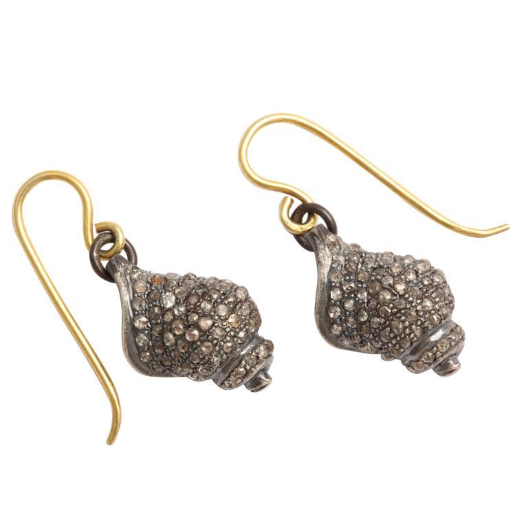 Diamond Seashell Earrings