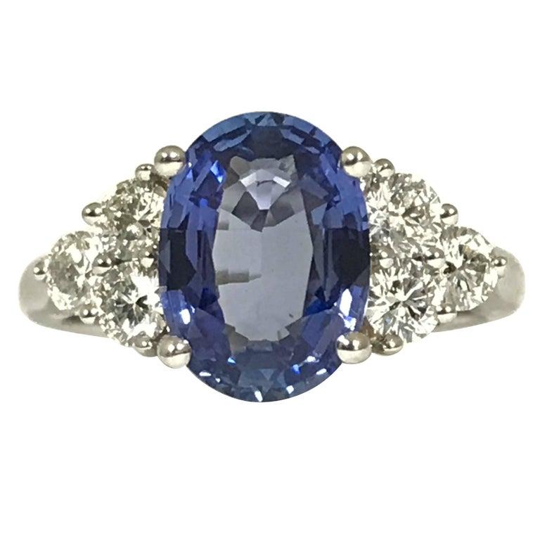 Ceylon Sapphire Diamonds White Gold Engagement Ring