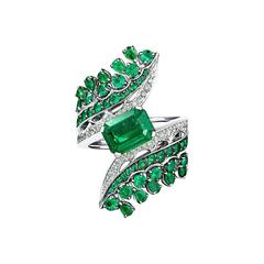 White Gold, White Diamond and Gemfield Emeralds Cocktail Ring