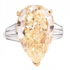 25.82 Carats Pear Diamond with Baguette Platinum & Gold Ring